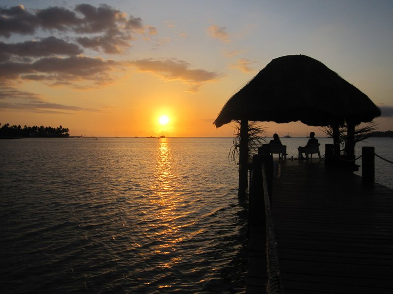$5 sunset dinner on a dock