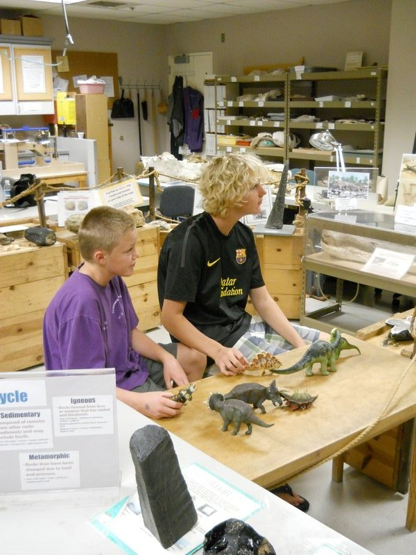 Amateur paleontologists at OMSI Museum in Portland, Oregon