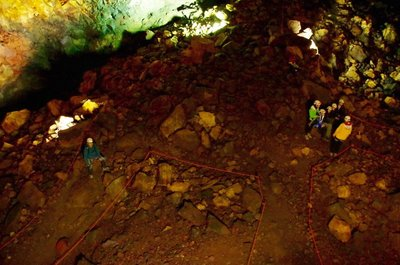 Looking down at bottom of Volcano chasm where lift drops you