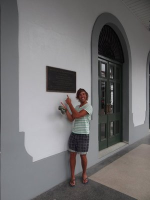 Outside the Panama Canal Museum, Ross's birthday