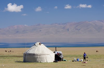 Yurt camps at Son Kul Lake
