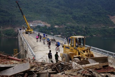 All change: a brand new bridge to go with a rebuilt town (Muong Lai) following flooding for a hydro-electric scheme