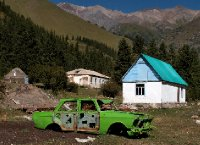 Clapped out Lada in its alpine resting place