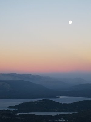 Moon rise over the lakes