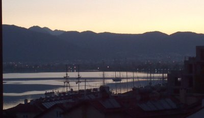 fethiye at sunrise from our pension's terrace