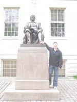 Me with statue of John Harvard, founder of Harvard University