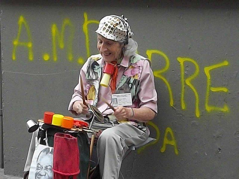 old lady drummer