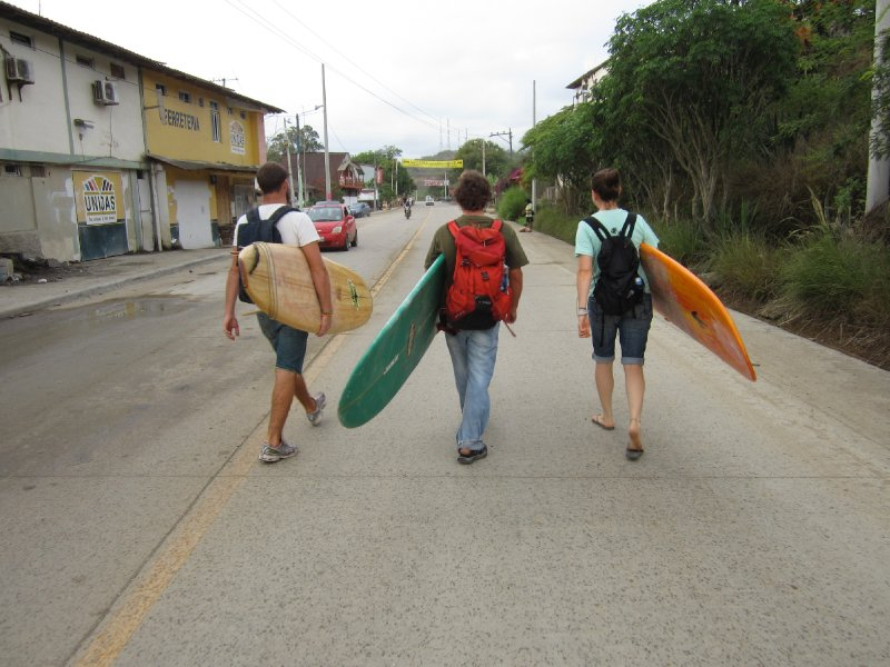 Carrying the surfboard for the first time
