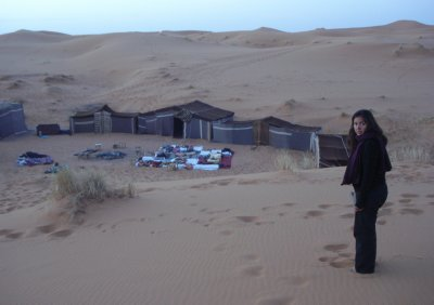 Our outside sleeping quarters, Merzouga, Morocco.  We preferred to sleep under the desert sky as opposed to the tents.