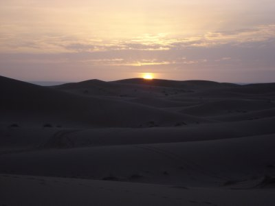 Sunrise over the dunes, Sahara Desert, Merzouga, Morocco