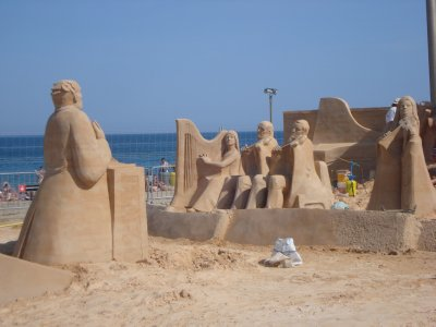 We got carried away building our sand castle...just joking.  Beautiful sand artwork depicting a symphony on the beach in Barcelona