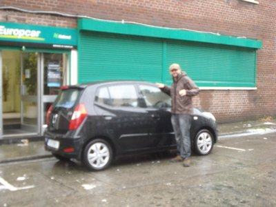 This image is a little fuzzy due to a torrential downpour in Dublin.  We estimate that at least 2 of these cars could fit in an average size car back home.