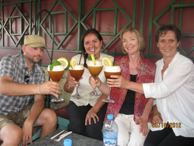 Celebrating a great day with some Moroccan mint iced tea with Elaine and Wendy