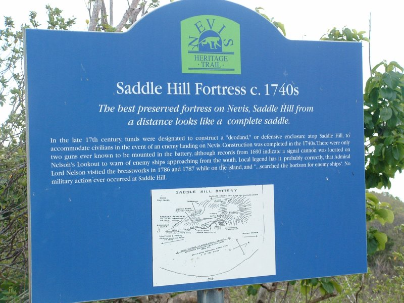 Saddle Hill Fortress c. 1740's, Nevis, West Indies