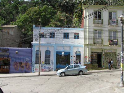three in one. graffiti, colourful houses and steep roads.