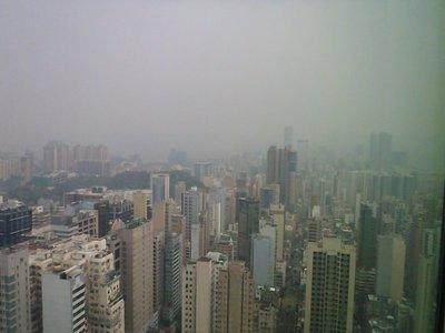 Hong Kong from the hotel lounge-bad smog