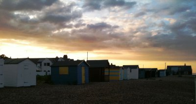 Beautiful Sunset on the pebble beach at Dover