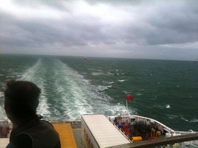 On our way to France in very cold, wet conditions