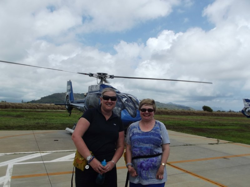 Nat and Helen after the helicopter ride
