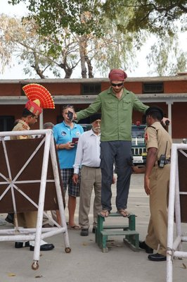 Adam getting searched on the way in to the Border Closing Ceremony on the India Pakistan border near Amritsar