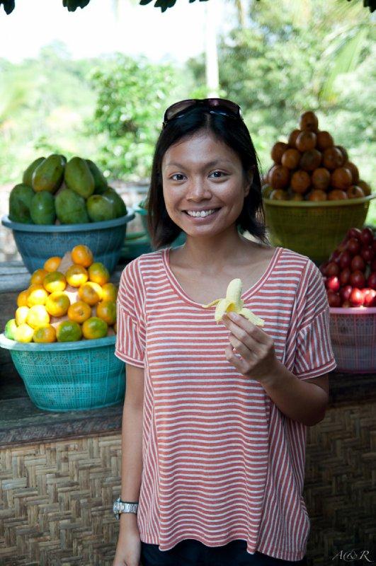 Rina sampling her favourite fruit again