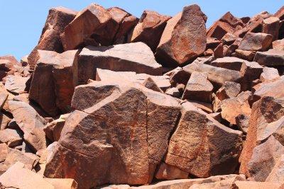 Aboriginal rock art outside Dampier