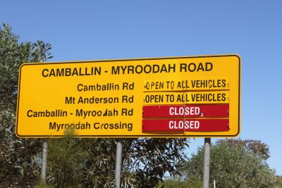 Closed road to Myroodah