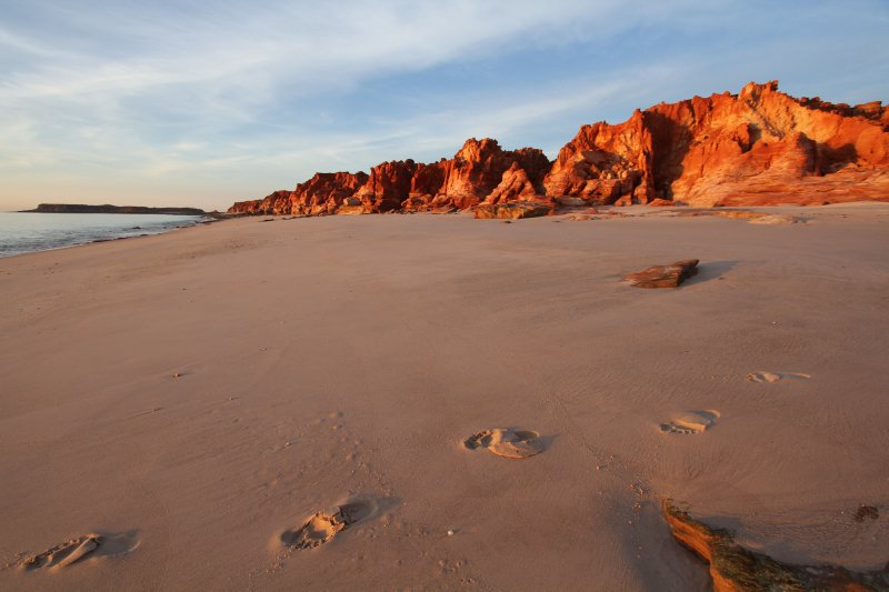 Red cliffs at sunset at Cape Leveque