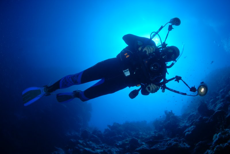 Me in my favourite position on the Great Barrier Reef