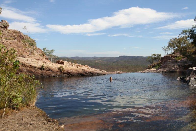 Swim at the top of Gunlom Falls