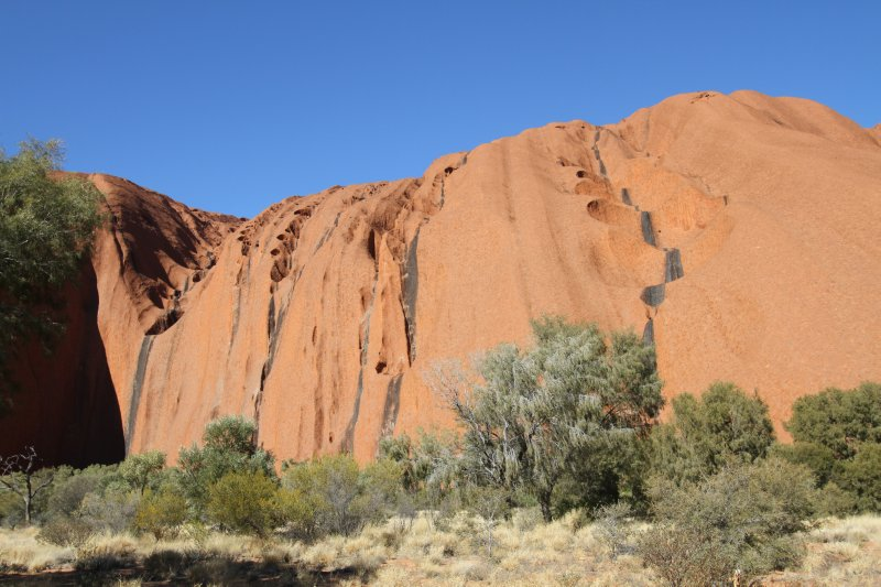 Traces of waterfalls on Uluru