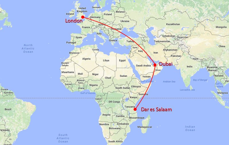 Bristol London Dubai Dar es Salaam Gretes Travels