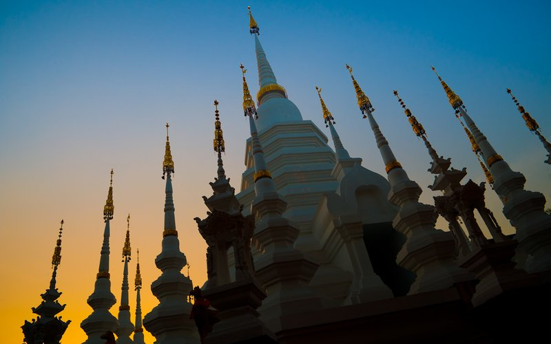 Temple at sunset, Chiang Mai, Thailand