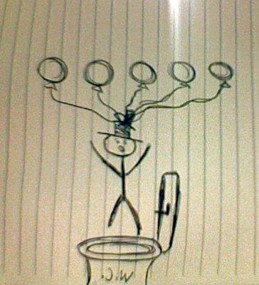 Mr. Stickman over toilet (W.C.)
