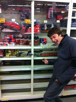 Nick with some guns at Wal-mart