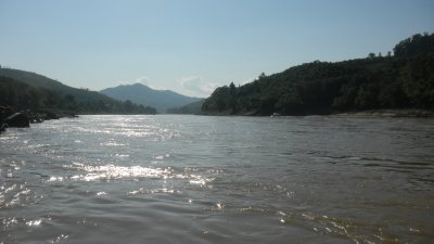 view from our boat of the mekong