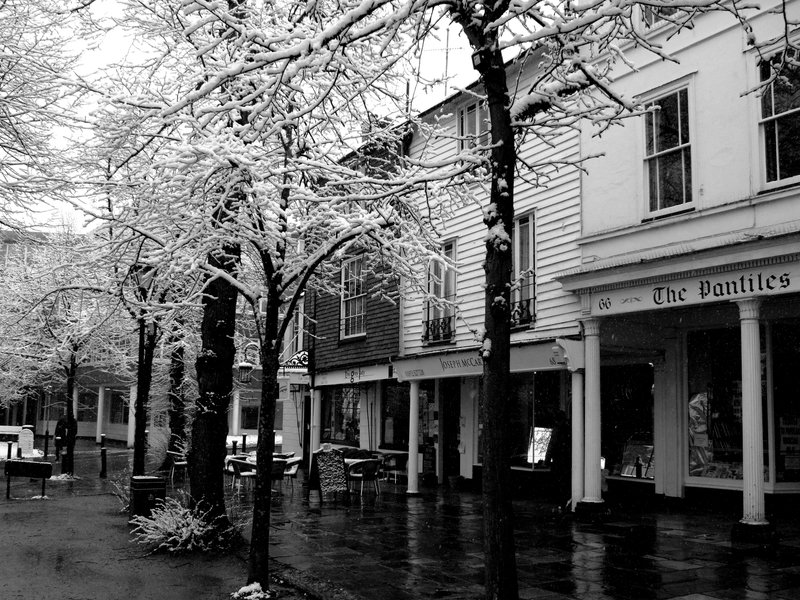Pantiles in April with snow on the trees, Tunbridge Wells