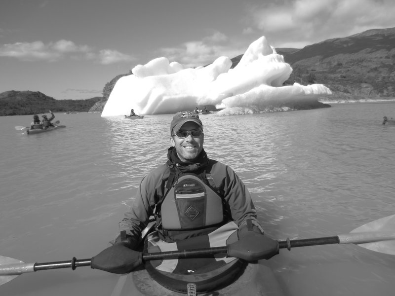 Ross Kayaking through the icebergs.... brrrrrrr its cold!