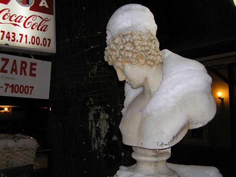 ROMANIA (Sinaia) - head in snow hat and collar