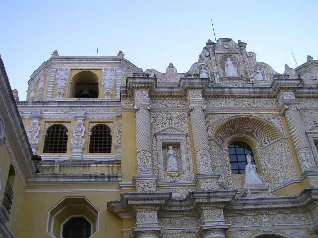 GUATEMALA - Antigua - yellow church facade details