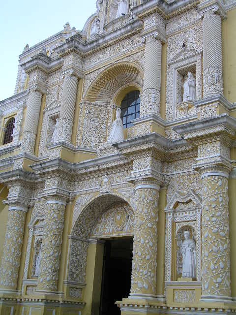GUATEMALA - Antigua - yellow church facade