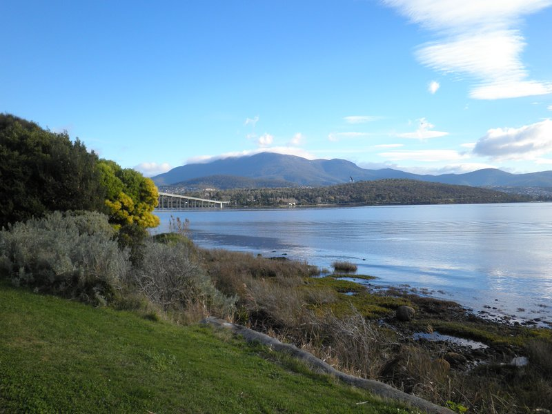 The Derwent River, Tasman Bridge and Mount Wellington.