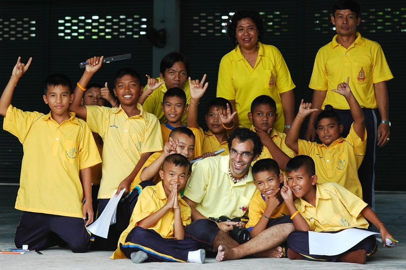 Anthony with AiA students in Thailand