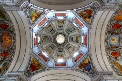 The Colorful Dome in the Dom Cathedral Salzburg, Austria