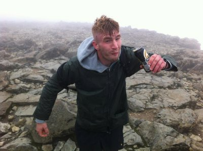 Having a drink on Ben Nevis