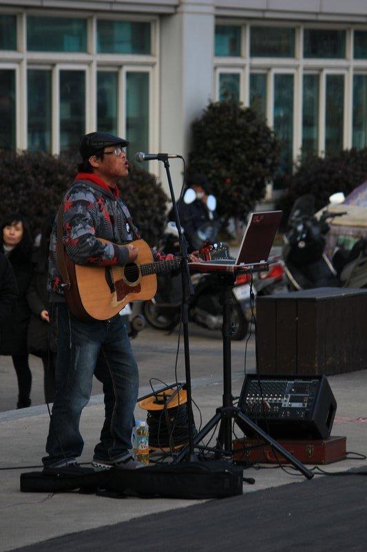 Korean Mexican Folk Singer below our balcony