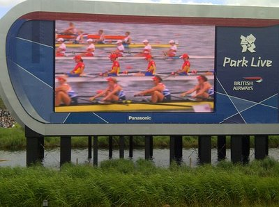 Watching the rowing in the olympic park.