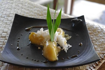 Banana, coconut and palm sugar dessert...very tasty with some kopi Bali
