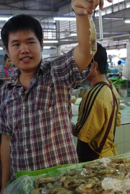 Trip to the market with Silom Cooking School - this is a good prawn!