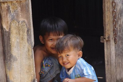 Cute Cambodian children...shame about their taste in football club